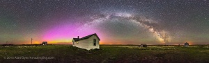 A 360° panorama of the night sky and prairie landscape from the Visitor Centre and farmyard at the Old Man on His Back Prairie & Heritage Conservation Area in southwest Saskatchewan. The Milky Way arches across the eastern sky from north to south, while an aurora display (faint to the naked eye) glows in an arch of green and magenta across the northern horizon. The pioneer house was built in the 1920s and this was a working ranch until the 1990s when the land was turned over to the Nature Conservancy of Canada to turn into a natural area to preserve the short grass prairie habitat.  This a stitch of 8 segments, each a 1 minute untracked exposure at f/3.5 with the 15mm lens and ISO 4000 with the Canon 6D. Stitched with PTGui software. I shot these May 18, 2015.