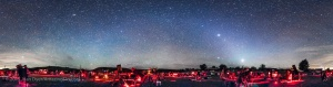 A 360° panorama of the upper field of the Texas Star Party at the Prde Ranch near Fort Davis, TX, May 13, 2015, taken once the sky got astronomically dark. The panorama shows the field of telescopes and observers enjoying a night of deep-sky viewing and imaging. Venus is the bright object at right of centre and Jupiter is above it. The Zodiacal Light stretches up from the horizon and continues left across the sky in the Zodiacal Band to brighten in the east (left of centre) as the Gegeneschein. I shot this with a 14mm lens, oriented vertically, with each segment 60 seconds at f/2.8 and with the Canon 5D MkII at ISO 3200. The panorama is made of 8 segements at 45° spacings. The segments were stitched with PTGui software.