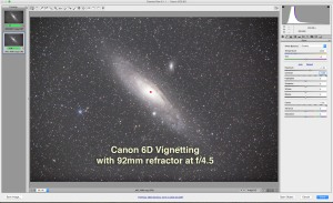 Demonstrating the level of vignetting and mirror-box shadowing with the Canon 6D on a TMB 92mm apo refractor with a 0,85x field flattener/reducer lens