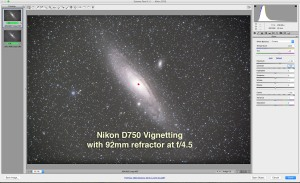 Demonstrating the level of vignetting and mirror-box shadowing with the Nikon D750 on a TMB 92mm apo refractor with a 0,85x field flattener/reducer lens
