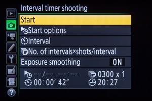 Nikon Intervalometer Start