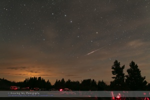 Perseid meteor caught night of August 12-13 2009 from Cypress Hills Prov Park in Saskatchewan at the annual Saskatchewan Summer Star Party. One frame of 250 shot as part of a time-lapse movie. Taken with Canon 5D MkII and 24mm lens at f/2.5 for 30s at ISO1600.