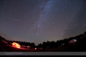 Shows unusual Perseid meteor varying in brightness? Or is this a satellite that mimics Perseid for position (it comes right out of the radiant point).  Taken at SSSP, August 14, 2010, using Canon 5D MkII and 15mm lens.