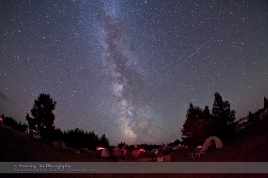 Twin Perseids in this photo? Or are these satellites?  Taken at SSSP, August 14, 2010, using Canon 5D MkII and 15mm lens.