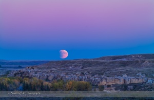 The Full Moon rises in partial eclipse over the sandstone formations of Writing-on-Stone Provincial Park in southern Alberta, on the evening of September 27, 2015. This was the night of a total lunar eclipse, which was in progress in its initial partial phase as the Moon rose this night. The blue band on the horizon containing the Moon is the shadow of Earth on our atmosphere, while the dark bite taken out of the lunar disk is the shadow of Earth on the Moon. The pink band above is the Belt of Venus. This is a two-image panorama stitched to extend the scene vertically to take in more sky and ground than one frame could accommodate. Both shot with the 200mm lens and 1.4x extender, on the Canon 5DMkII.