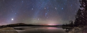 A panorama of roughly 180° showing a star- and planet-filled sky in the pre-dawn hours over Lake Annette in Jasper National Park, Alberta, on the morning of October 25, 2015.  At left, to the east, are the two bright planets, Venus (brightest) and Jupiter in a close conjunction 1° apart (and here almost merging into one glow), plus reddish Mars below them, all in Leo, with the bright star Regulus above them. At centre, to the south, is Orion and Canis Major, with the bright star Sirius low in the south. At upper right are the stars of Taurus, including Aldebaran and the Pleiades star cluster. Venus was near greatest elongation on this morning.  The Milky Way runs vertically at centre, between Sirius and Procyon, the bright star above centre. The faint glow of morning Zodiacal Light rises in a diagonal band at left in the east through the planets and stars of Leo and into Cancer and the Beehive Cluster at top left.  No special filter was employed here — the hazy planets and stars and colourful star images comes naturally from a high haze over the sky this morning. It bloats the images of Venus and Jupiter so they almost merge.  The stars are partly reflected in the waters with wind distorting some of the reflections. Some green airglow appears in the south as well. Distant Whistler peak below Orion is lit by lights from the Jasper Townsite. The site is the shore of Lake Annette near the Jasper Park Lodge and site to the annual star party held as part of the Jasper Dark Sky Festival. I shot this scene the morning after the 2015 Festival. This is a panorama of 12 segments, shot with the 24mm lens mounted vertically (portrait), each for 30 seconds at f/2.8 with the Canon 6D at ISO 3200. Stitched with Photoshop, with some vertical scaling to reduce the distortion introduced by the pan mapping process.