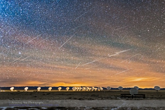 Raining Meteors over the VLA Dishes