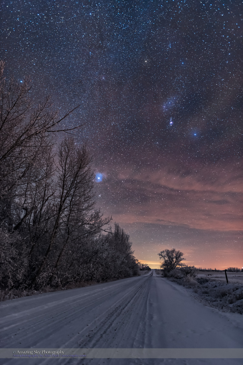 Orion Down the Snowy Road