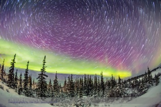 Circumpolar Star Trails and Aurora (Feb 9, 2016)