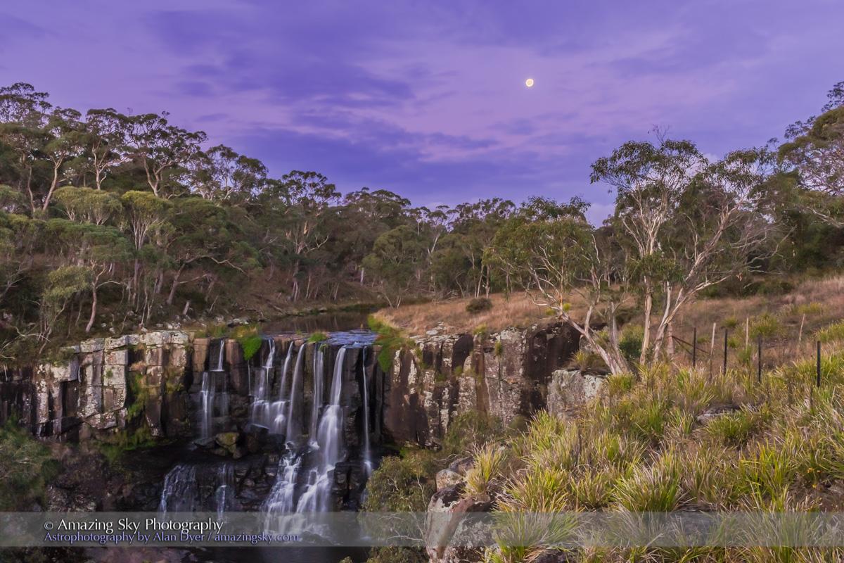 Gibbous Moon Over Upper Ebor Falls