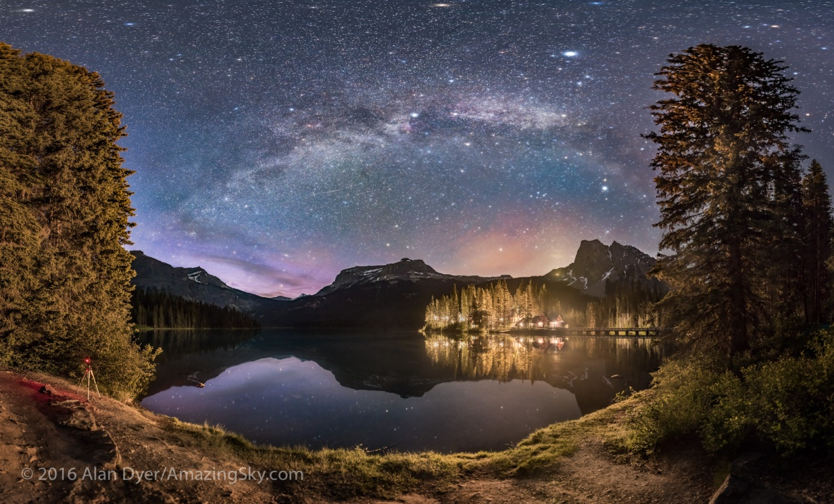 Mars And The Milky Way At Emerald Lake The Amazing Sky