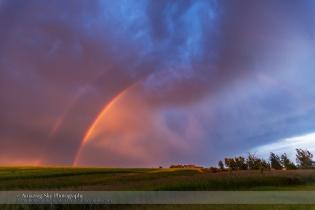 Fiery Rainbow at Sunset