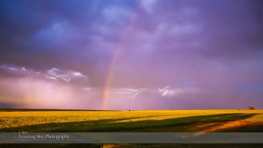 Lightning and Rainbow at Sunset