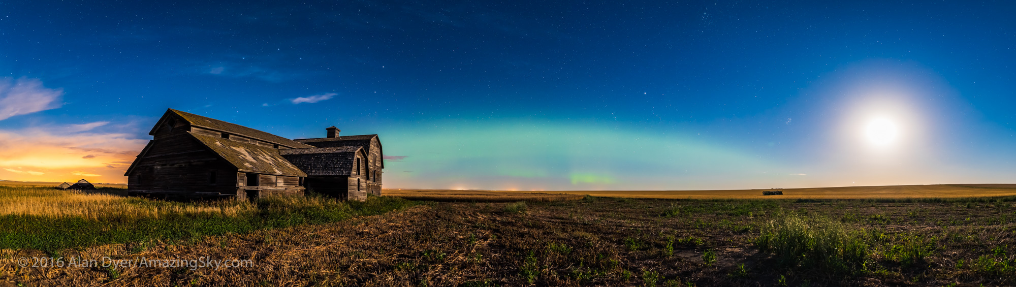 Aurora and Harvest Moon at the Old Barn