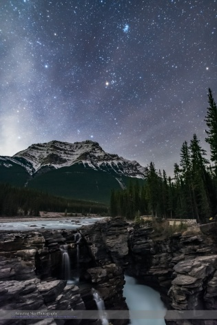 Pleiades and Taurus over Athabasca Falls