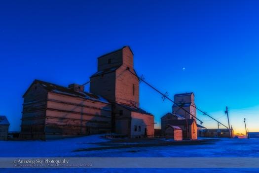 Venus in Twilight over Pioneer Grain Elevators