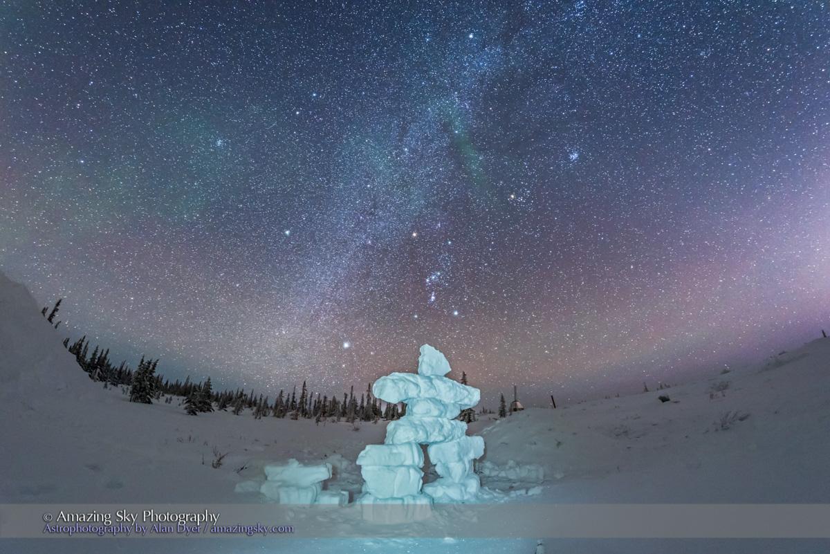 Orion over Snow Inukshuk