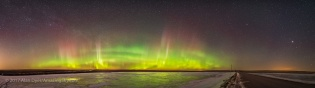 Aurora over Frozen Pond