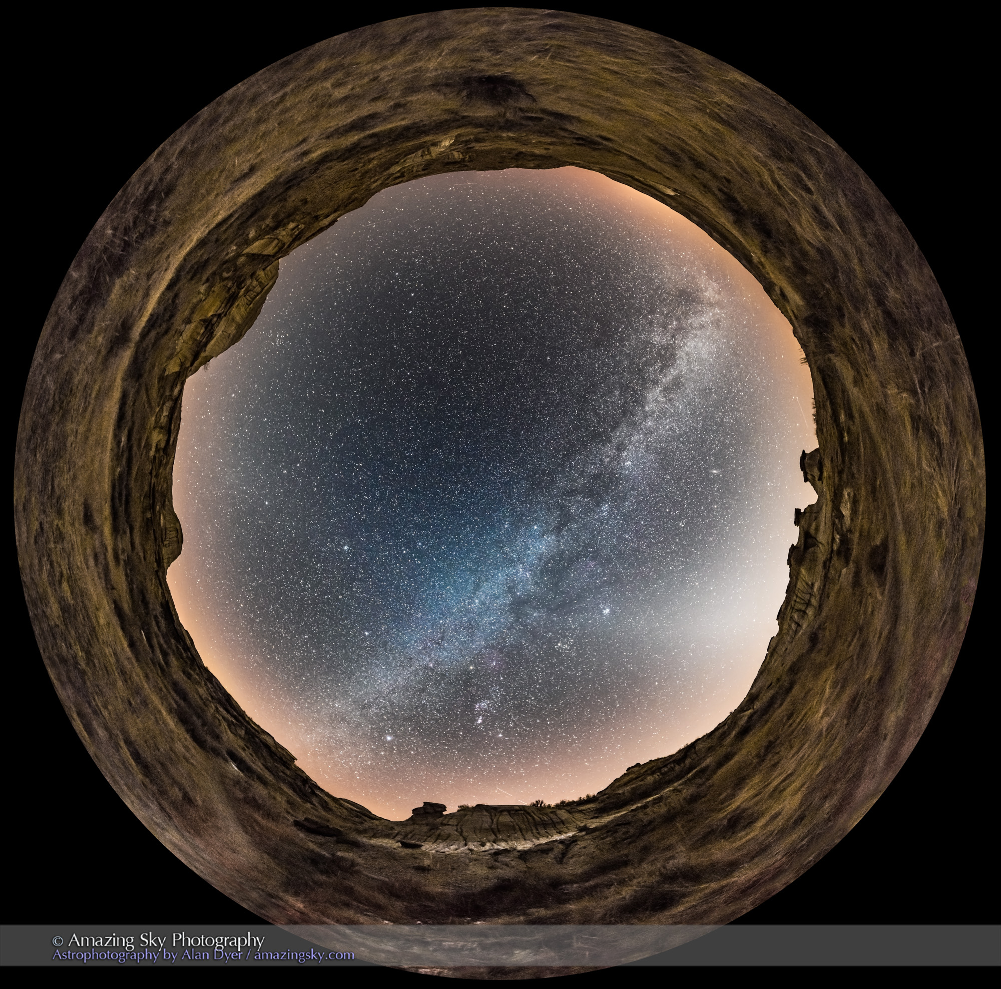 Winter Sky Panorama at Dinosaur Park (Fish-Eye View)