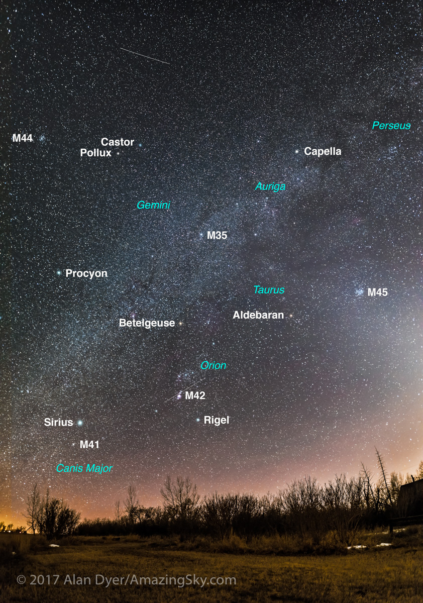 Panorama of the Winter Sky in March (with Labels)