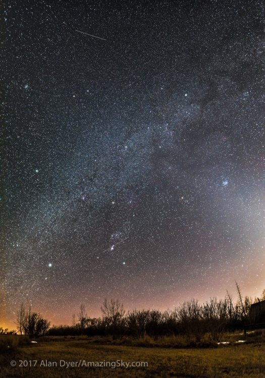Panorama of the Winter Sky in March