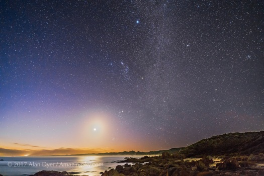 Orion and Waxing Moon Setting at Cape Conran