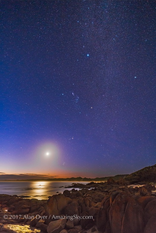 Orion, the Milky Way and Waxing Moon at Cape Conran