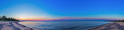 Philip Island Sunset and Waxing Moon Panorama
