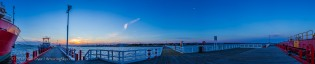 Panorama of the Waxing Moon at Sunset at Welshpool Harbour
