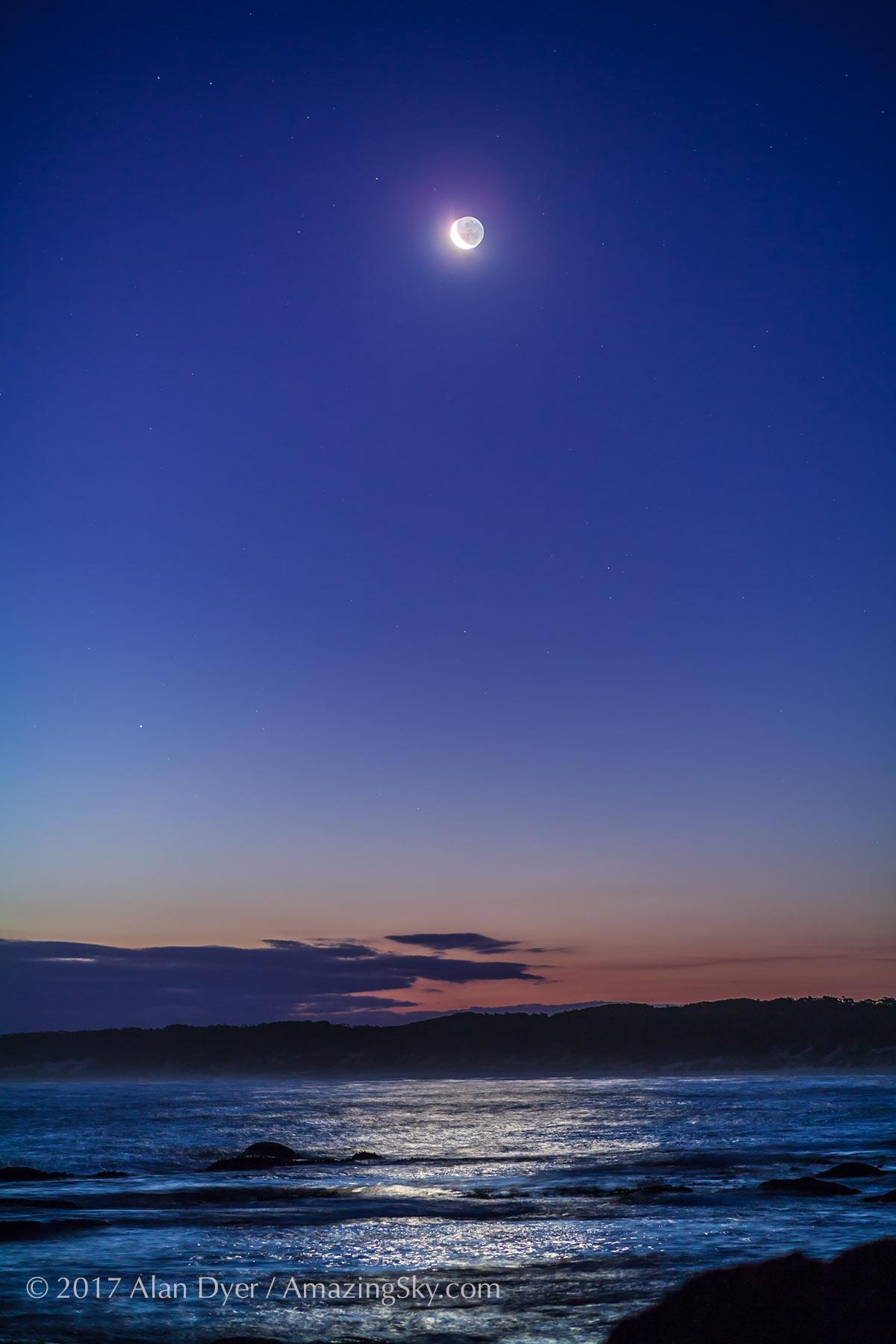 Waxing Crescent Moon at Cape Conran