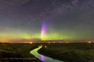 Lone Curtain of Aurora over Red Deer River