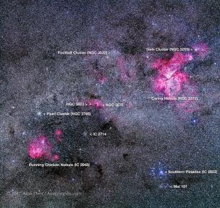 Carina-Centaurus Nebulas Mosaic (with Labels)