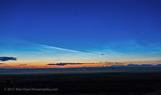 Noctilucent Clouds at Dawn with the Moon and Venus