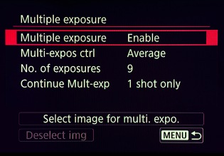 Multiple Exposure Menu