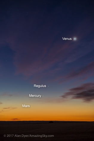 Rocky Planets at Dawn with Labels (Sept. 12, 2017)