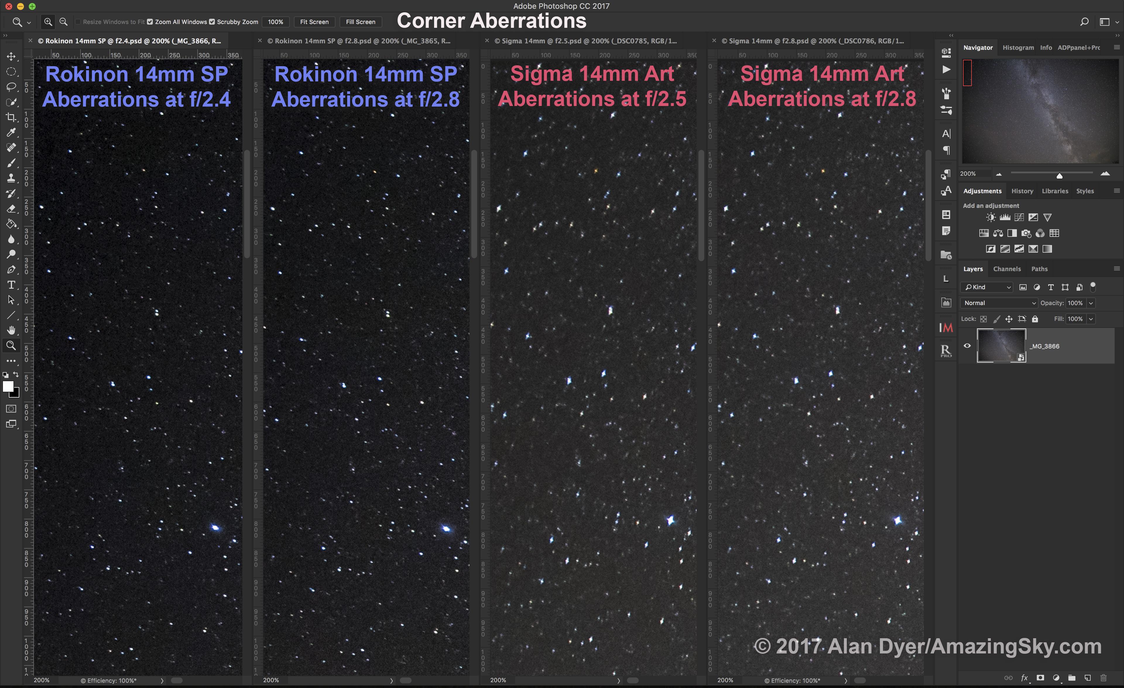 Rokinon vs Sigma (Corner Aberrations)