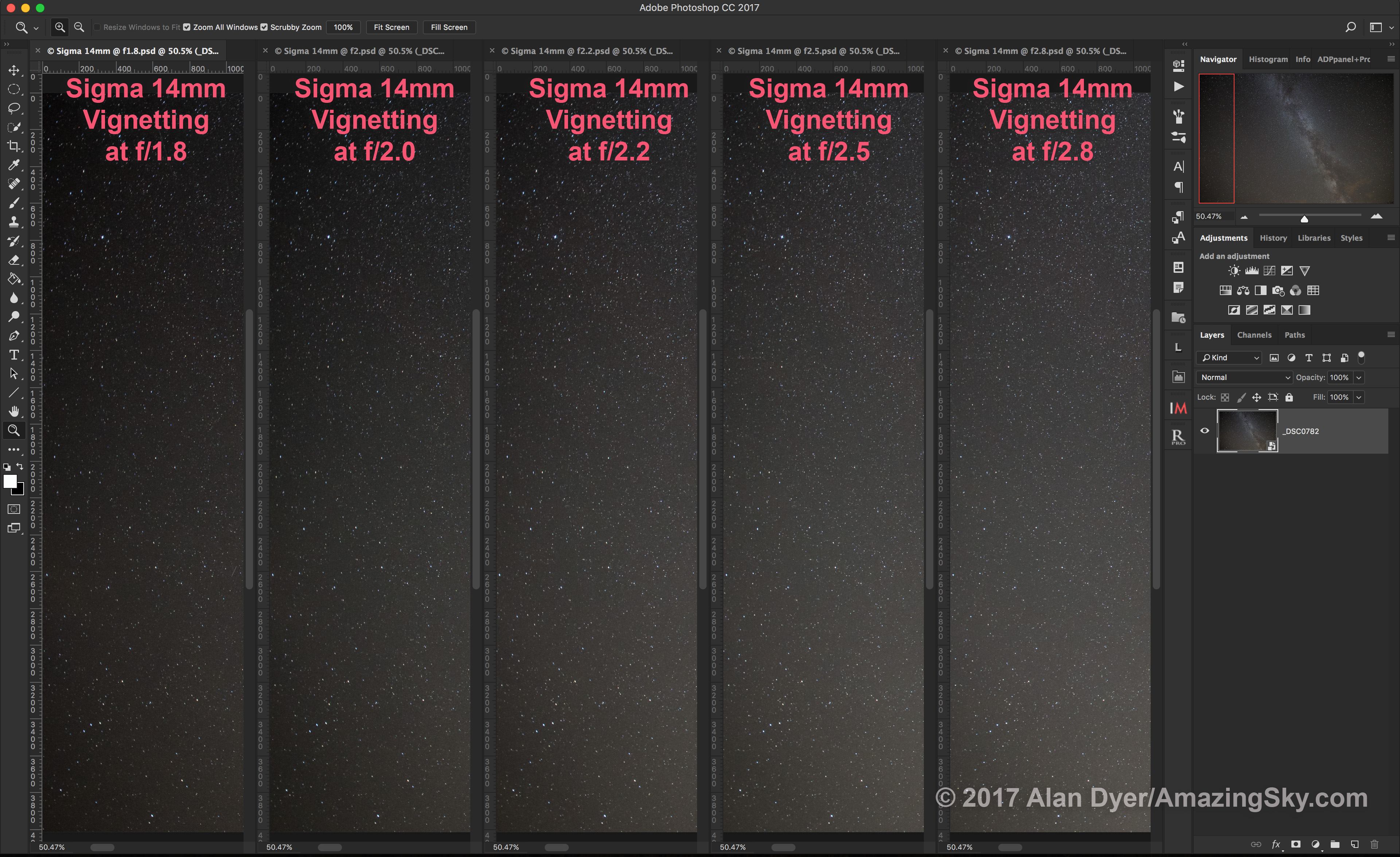 Sigma 14mm Vignetting (5 Apertures)