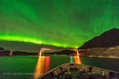 "The aurora boralis over a bridge in Norway, as per the legend of ""Bifrost,"" the bridge between heaven and Earth in Norse mythology. Taken from the Hurtigruten ship the m/s Nordlys on October 23, 2017, on the journey between Svolvaer and Tromsø. Taken with the Sigma 14mm Art lens at f/1.8 and Nikon D750 at ISO 6400 for 1.6 seconds, as part of a 450-frame time-lapse."