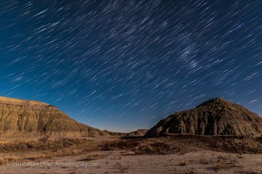Orion Rising Star Trails at Dinosaur Park