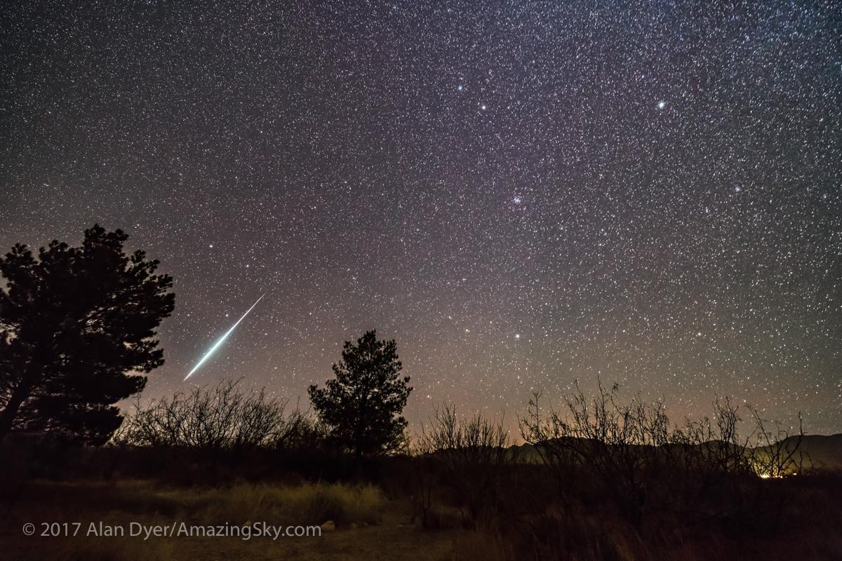 Bright Geminid Meteor Descending