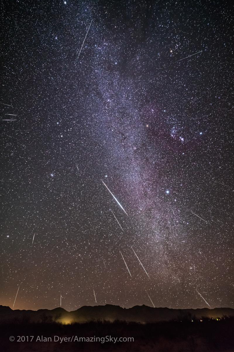 Geminid Meteor Shower in the Winter Milky Way