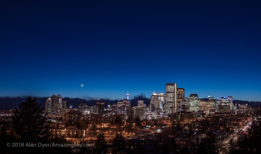 Crresent Moon over Calgary