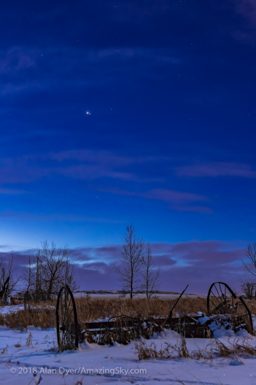 Jupiter and Mars in Conjunction at Dawn