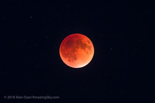 Lunar Eclipse Closeup with Stars