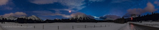 Red Moon over the Rockies Panorama