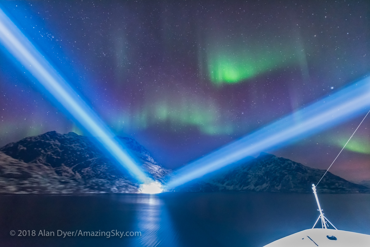 Entering Trollfjorden with Searchlights