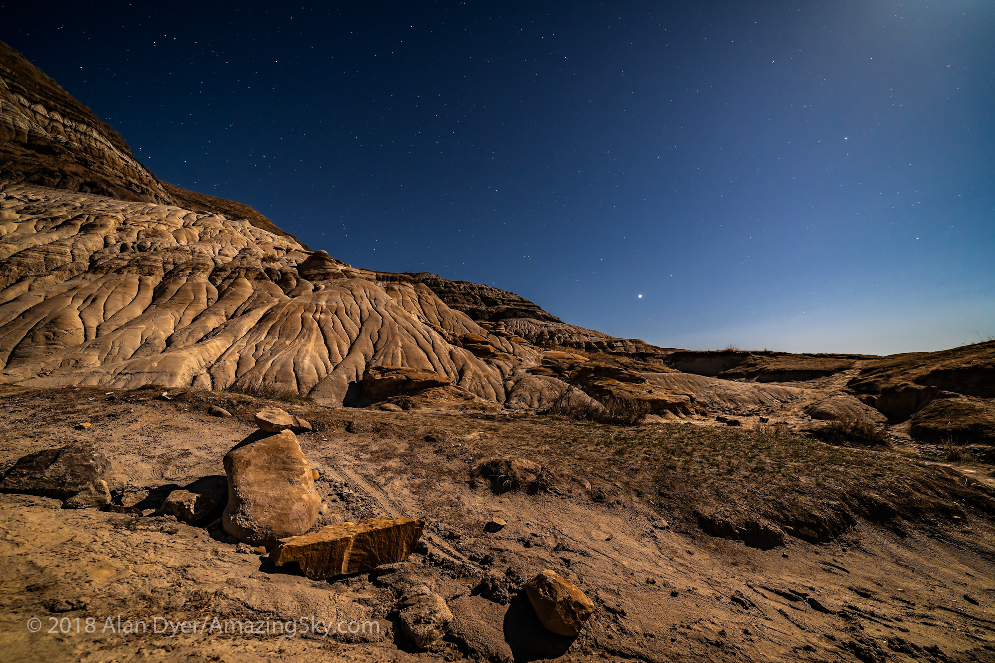 Jupiter Rising over Red Deer River Badlands