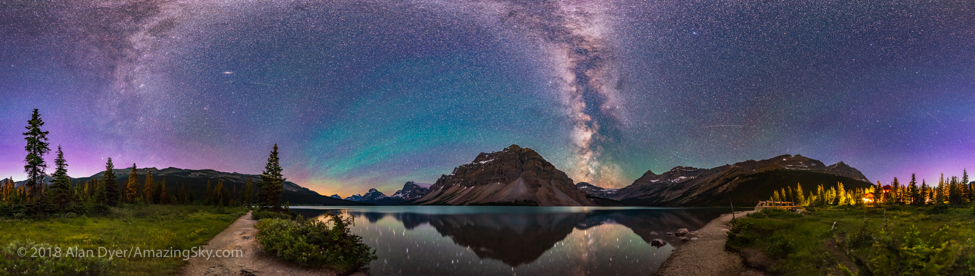 Bow Lake by Night Panorama