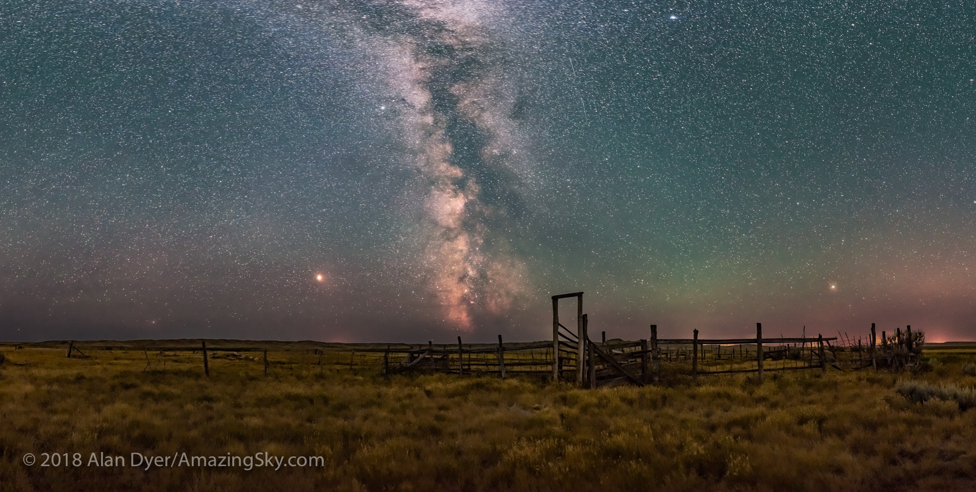 Milky Way Panorama at 76 Ranch Corral