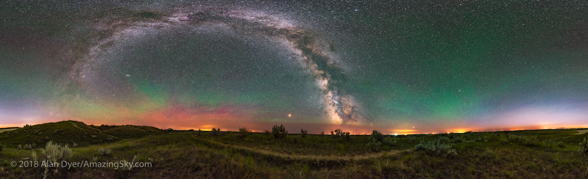 Panorama of the Milky Way over the Great Sandhills